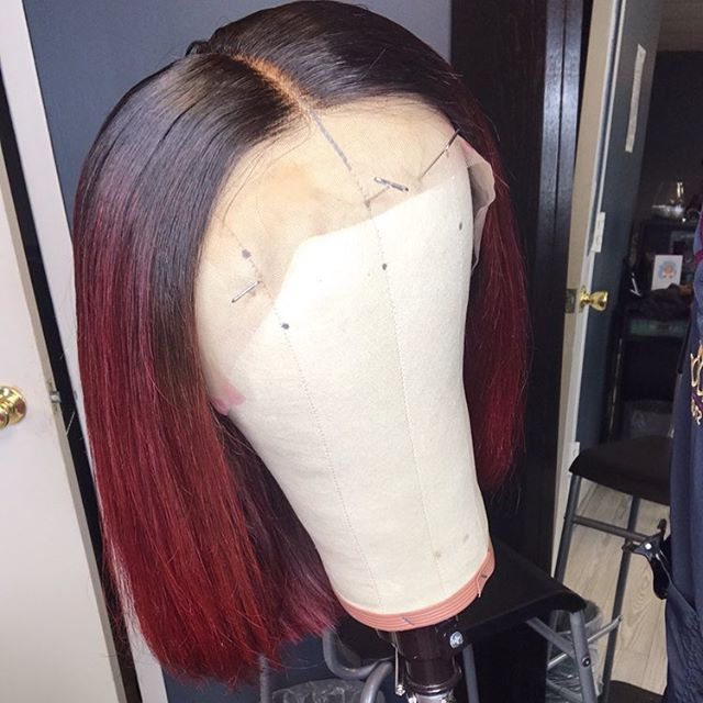 """✨Customized Color on Our Kim K Bob✨ ——————————————————— www.beehollywood.com ✨✨ Scene!!🎬 Color: red Texture: #Brazilian Straight  Length: 10"""" Density: Comes in Medium and High Top: Lace Frontal with a pre plucked hairline. (13''x6'')"""