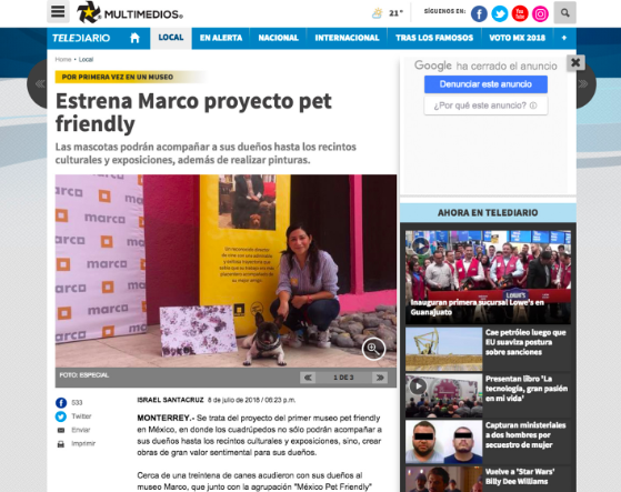 Nuestro primer evento pet friendly en Museo Marco en julio 2018. Televisado en Multimedios y reportaje en periódico digital.