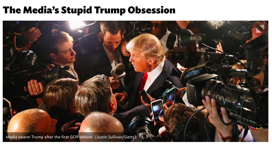 Screenshot of title and photo from  National Review article  by Rich Lowry. http://www.nationalreview.com/article/424231/medias-stupid-trump-obsession-rich-lowry
