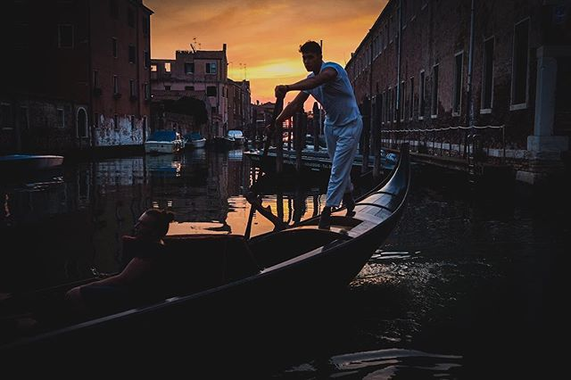 The sunset just after our gondoliering lessons...we were off the beaten path with no tourist around. It was like the scene out of a movie. An evening I won't soon forget. #Venice