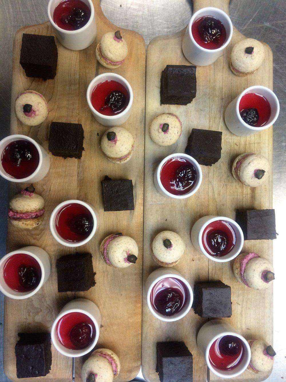 Chocolate Flourless Cake - Sour Cherry Panacotta - Berry Almond Macarons
