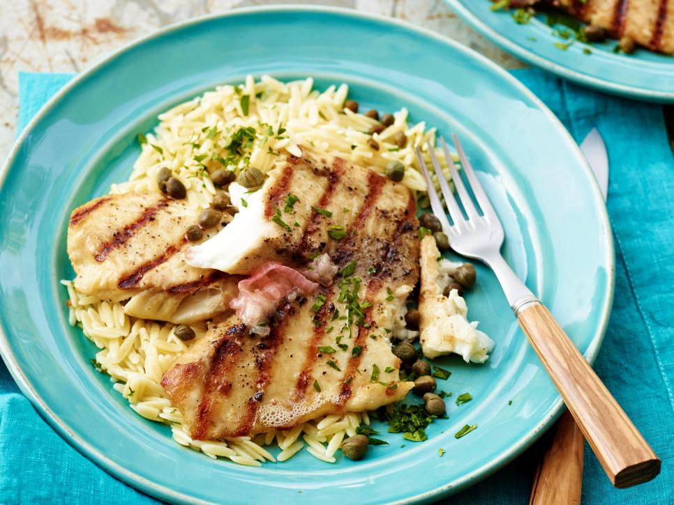 Grilled Tilapia with Lemon Butter, Capers and Orzo