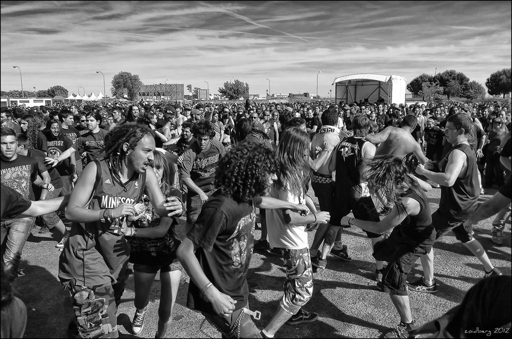 A mosh pit. Photo by dr_zoidberg. Creative Commons license.