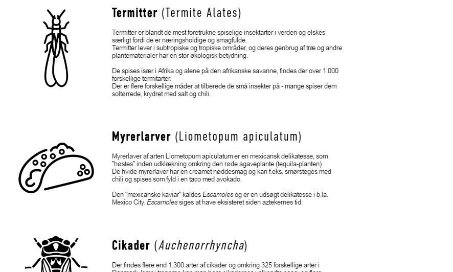 Hvilke insekter er spiselige? - Se her en liste over de mest almindelige spiselige insekter og lær mere om insekternes forskellige egenskaber.