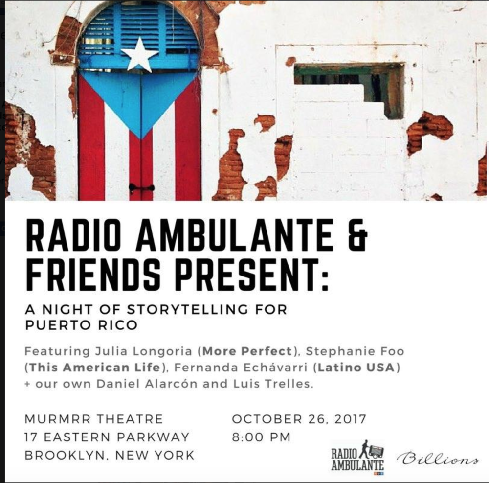 Storytellers for puerto rico - Radio Ambulante
