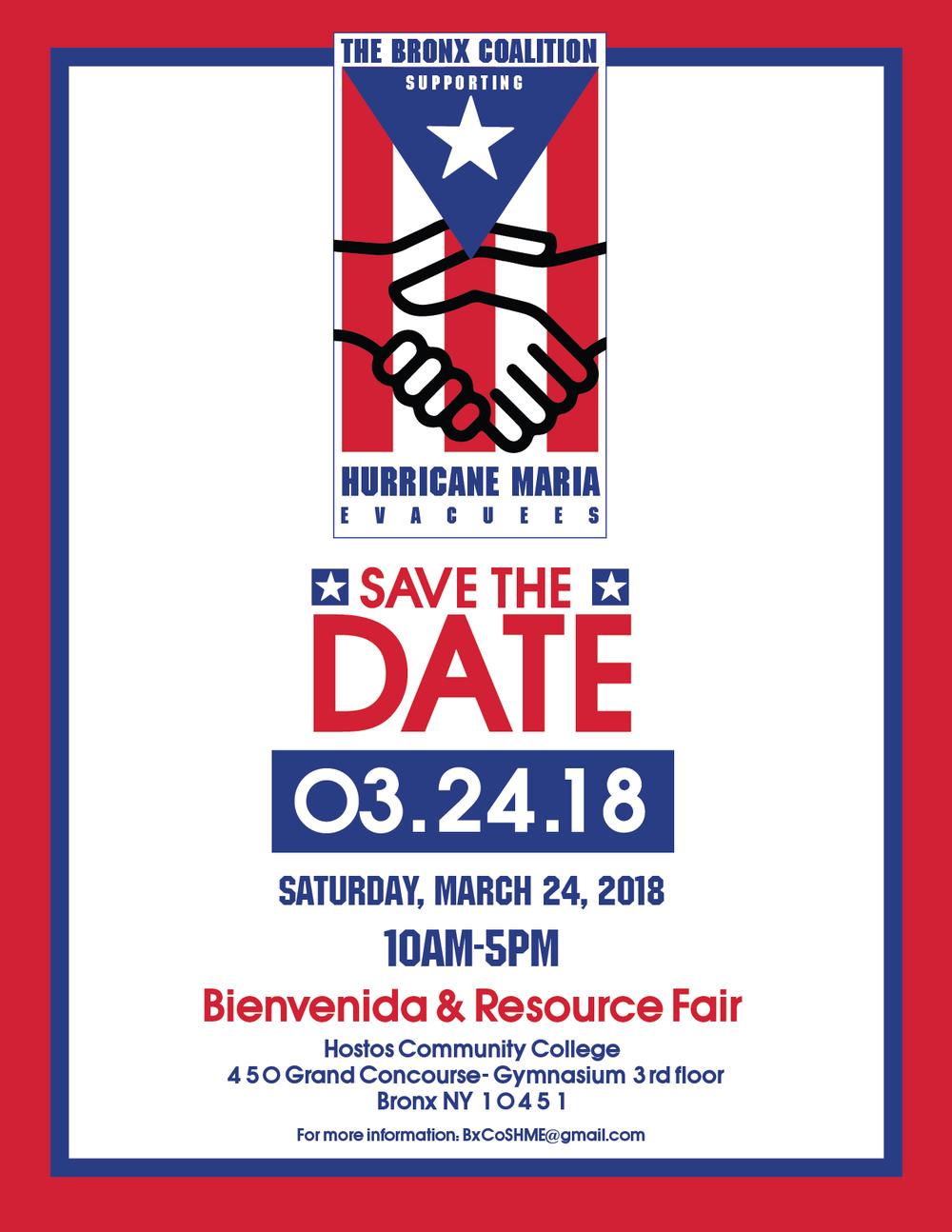 Apoyando a los puertorriqueños - Feria de Recursos   sábado 24 de marzo   Hostos Helping