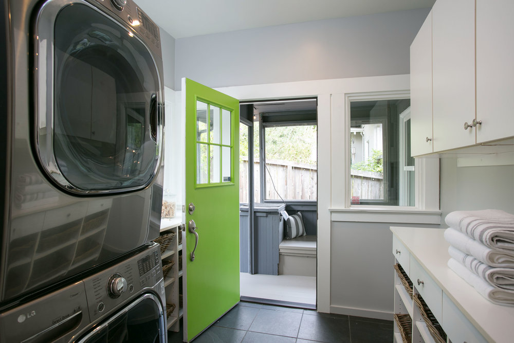 LAUNDRY ROOM RIGHT OFF THE KITCHEN AND DECK