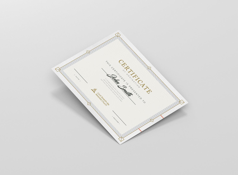 Printable Elder Deacon Ordination Certificate