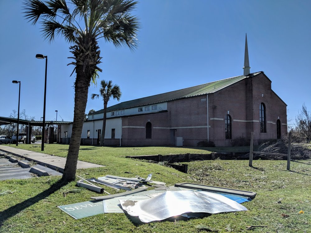 The Panama City Church stands strong despite being hit by category four Hurricane Michael.  Photo by Shane Hochstetler/Gulf States Conference