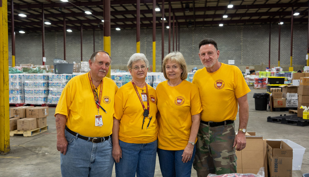 Tommy Warren (Left), Denise Warren, and Corrine & Ronnie Garrett have been operating the warehouse since it opened following the Lee County tornado.