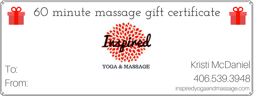 inspired yoga and massage gift certificates