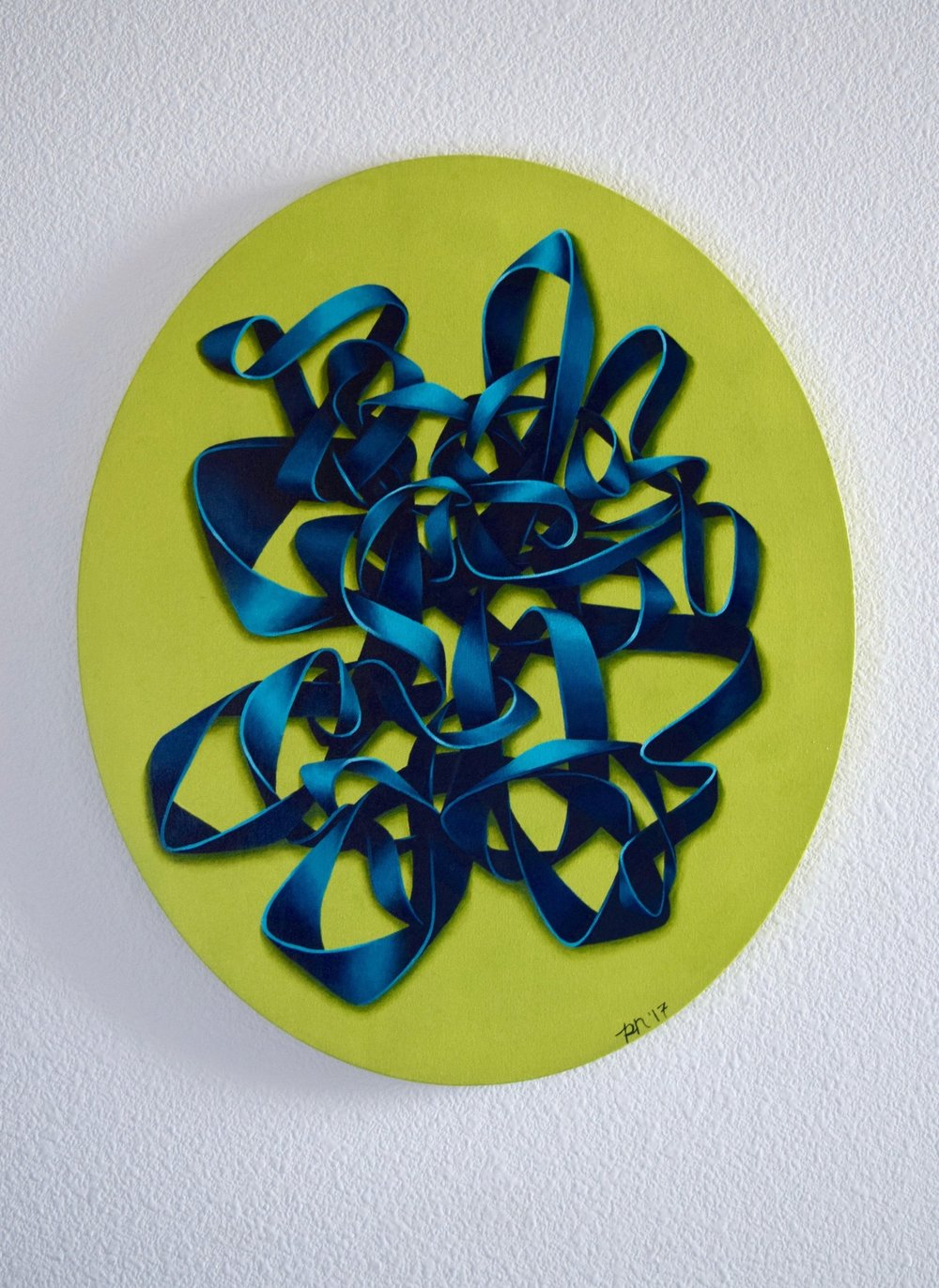 TEAL KNOT ON GREEN  | ACRYLIC ON CANVAS  |   2017  |  FOR SALE - PLEASE CONTACT FOR INFORMATION