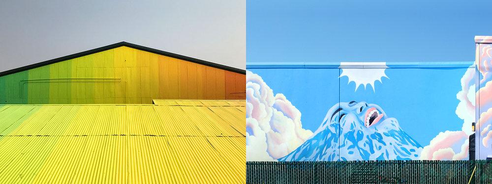 Left: Derek Bruno's  Angles of Incidence  (2017 SODO Track mural). Image  ©  2017 Wiseknave. Right: Celeste Byers's  Above the Clouds  (2018 SODO Track mural). Image  ©  2018 Celeste Byers.