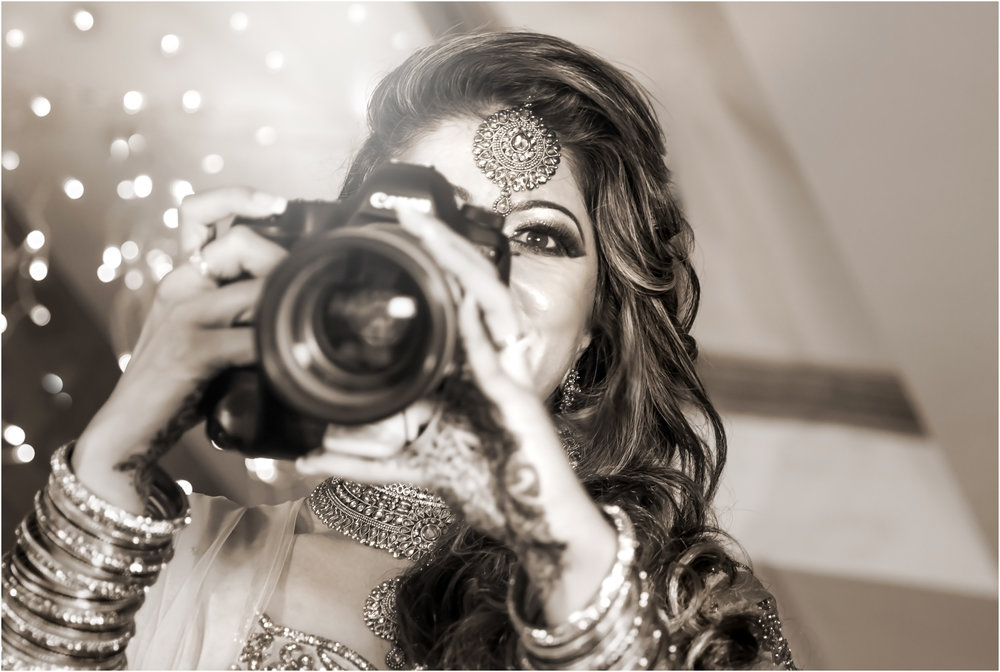 Bride - having fun with a camera at our photography shoot after the Nikaah.