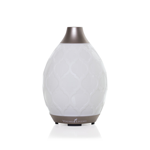 This Moroccan-inspired diffuser just released this summer is my new favorite! Its candelight flicker setting sealed the deal for me but another favorite feature is the three output settings so you can diffuse it on high output to fill a room with natural aroma, medium aroma for smaller rooms, or light intermittent setting which is what I use during the night! It has longer run times than any of Young Living's ultrasonic diffusers and comes with a one-year warranty.