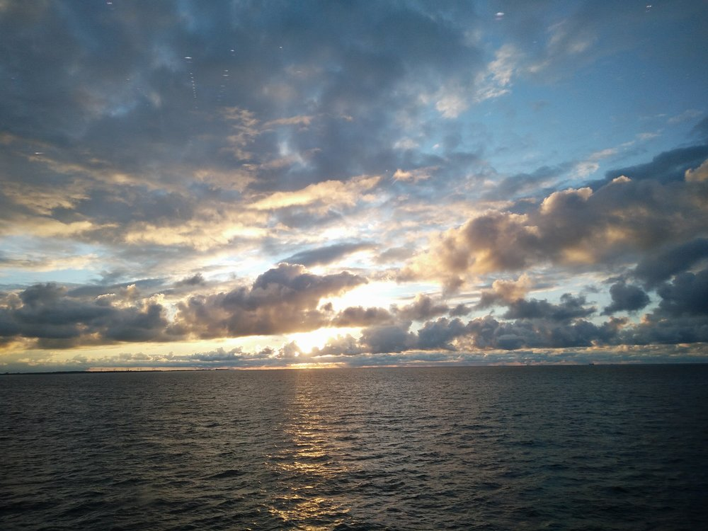 The sunset on the ferry from Puttgarden to Rodby, part of the trip from Hamburg to Copenhagen.
