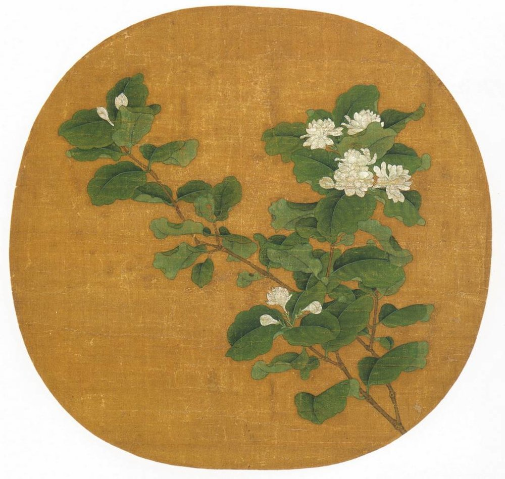 The White Jasmine Branch , painting of ink and color on silk by Chinese artist Zhao Chang, early 12th century