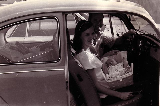 Here's to my mom, and all the moms who did it all before the internet, diapers.com, smartphones, triplet strollers, wipes, monitors, gogo-squeeze and car seats. (Note: 2 more babies in the back seat) #newrespectformoms Happy Mother's Day Mom!! @christine_creel