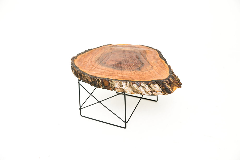 Live Edge Heart Side Table Dark Wood
