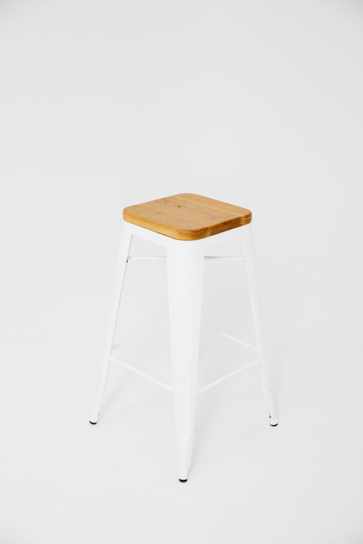 Yeah! Barstool White w/ Wood Seat