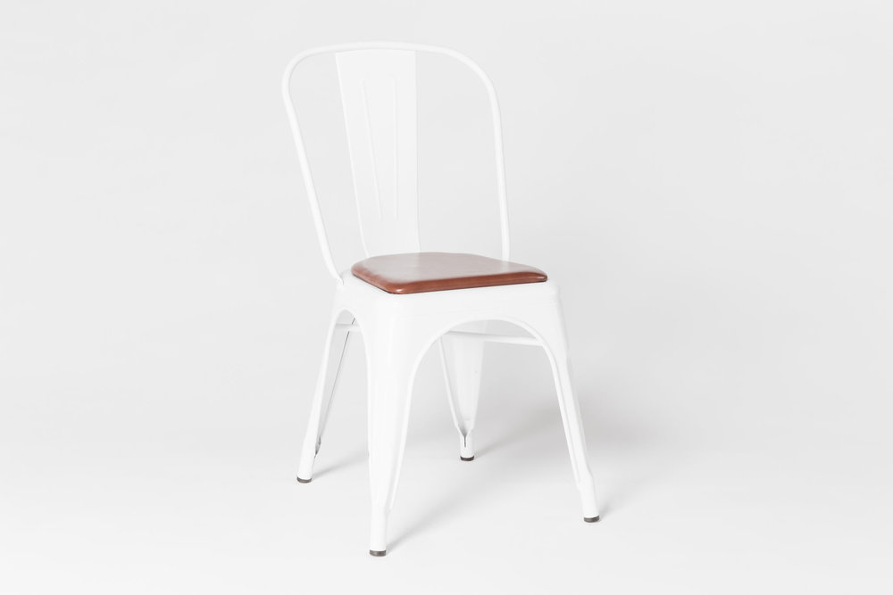 Tolix White w/ Leather Seat