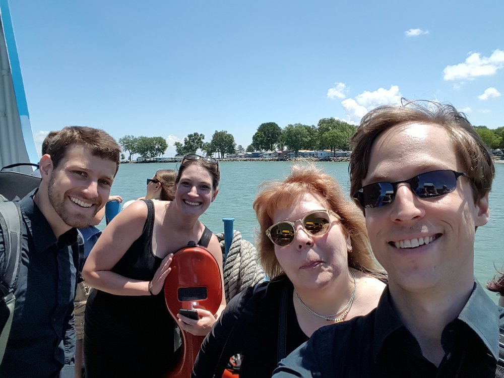 The string quartet members on the ferry to Put In Bay!