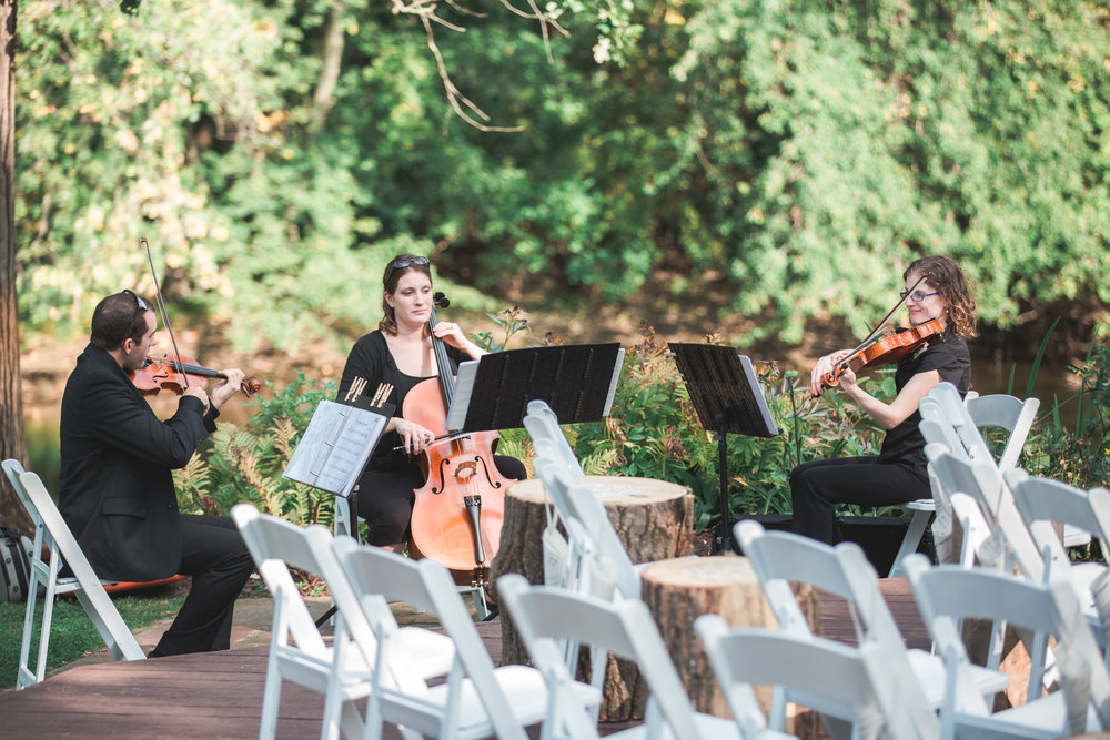 White Pines Entertainment String Trio performing for the ceremony at the English Inn by  Two Ring Photography