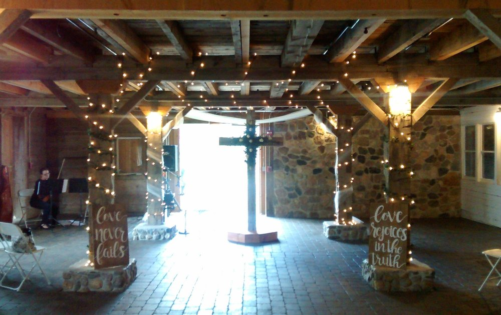 The perfect barn set-up! If only my cellphone camera did the space justice :), White Pines Entertainment string duet performance captured by Jen at Bullinger Photography.