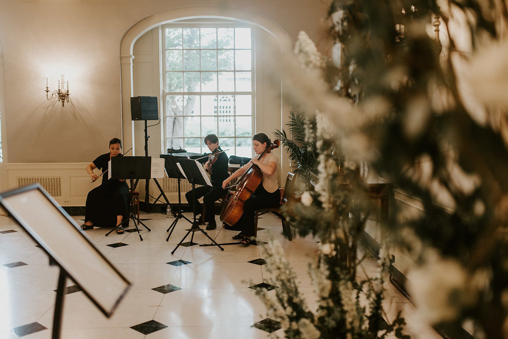 White Pines Entertainment String Trio performs prelude music for the wedding ceremony. Image captured by Cassie Tackett with  Northern Native Photography.