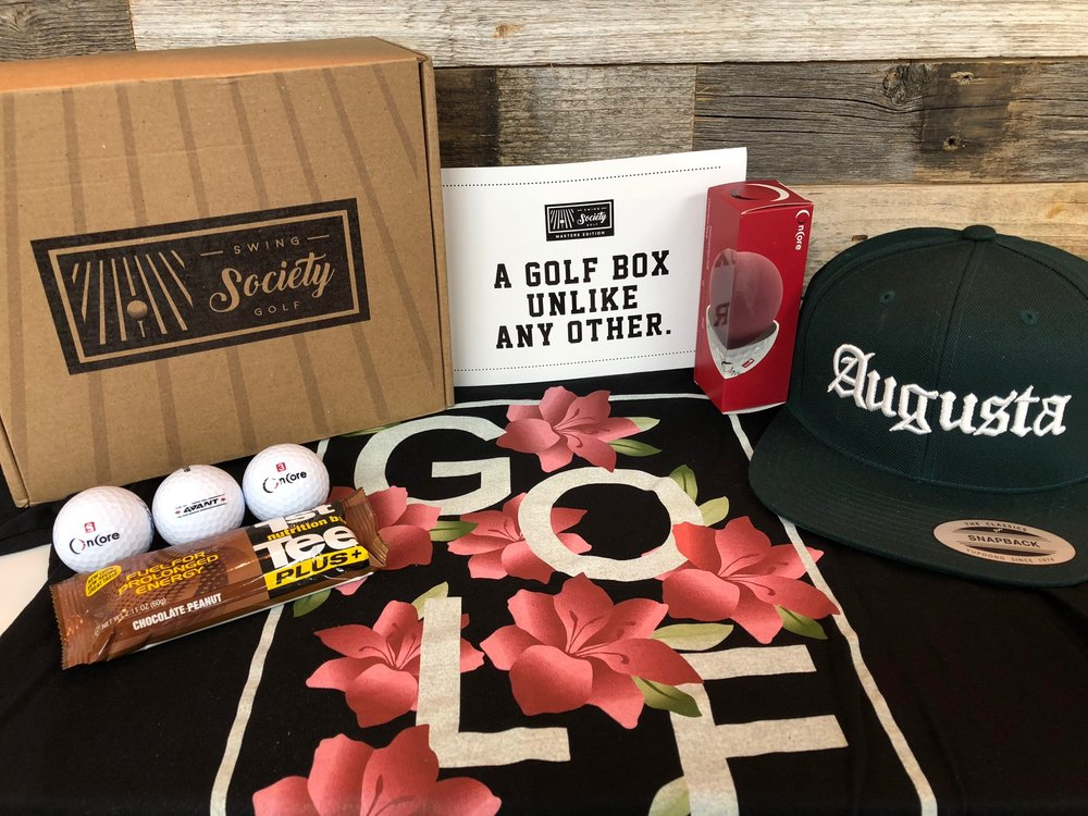 "CONTENTS:   irons & aces ""azaleas"" shirt [$35]  devereux snapback hat [$35]  1st tee plus+ nutrition bar [$2]  sleeve of balls (dealers choice) [$7]"