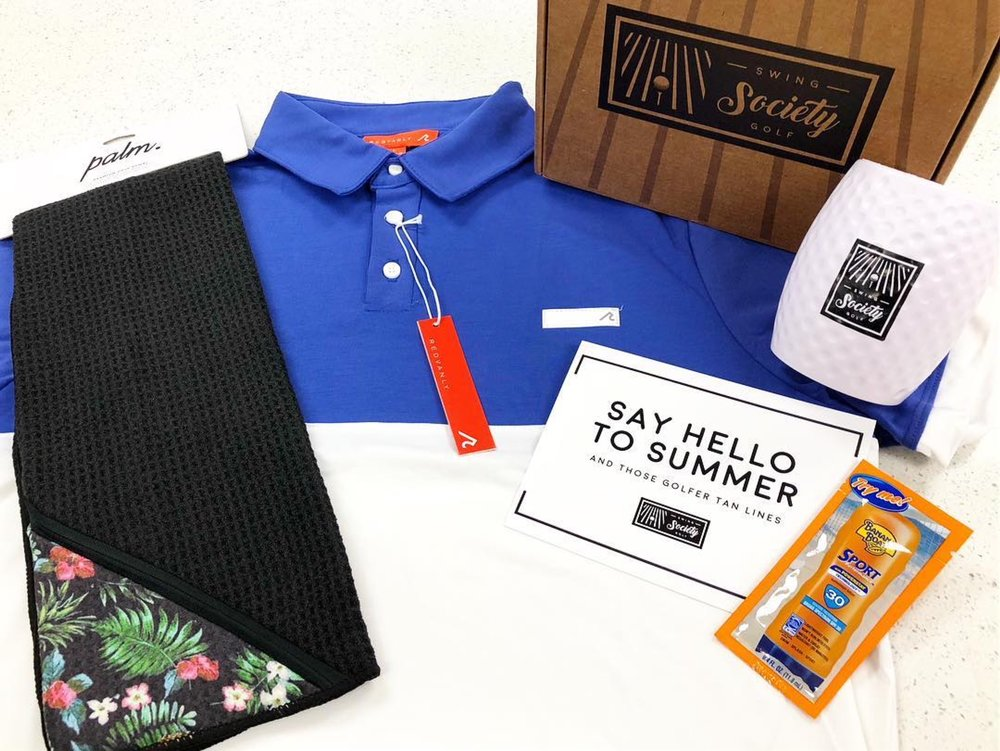 CONTENTS:   matte grey or redvanly polo [$92]  palm golf co. golf towel [$20]  swing society golf ball koozie [$10]  banana boat sport sunscreen [$1]