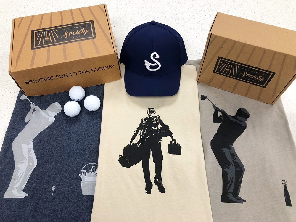 CONTENTS:   swannies t-shirt [$27]  swannies hat [$25]  palm golf co. divot repair tool [$10]  10th tee plus+ nutrition bar [$2]