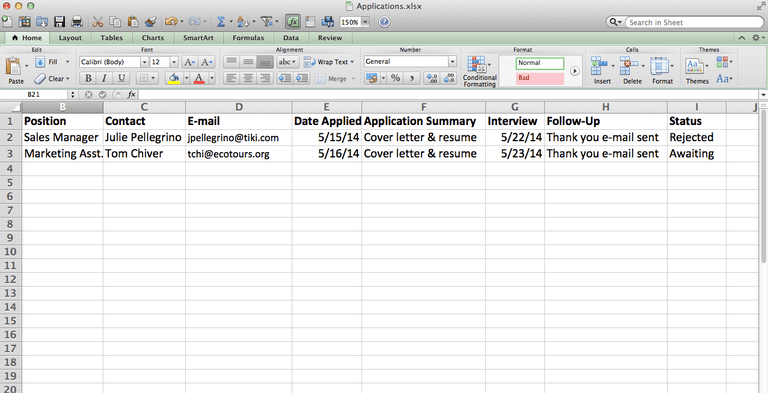 Here's an example of an actual job-app tracking spreadsheet.