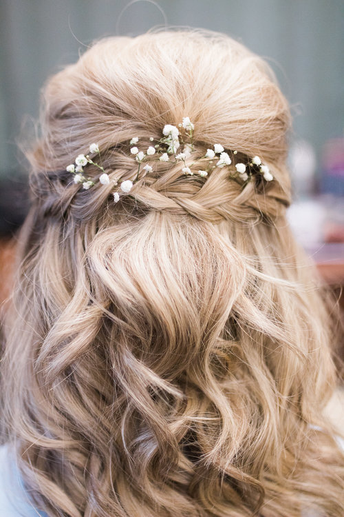 half up bridal hair with flowers