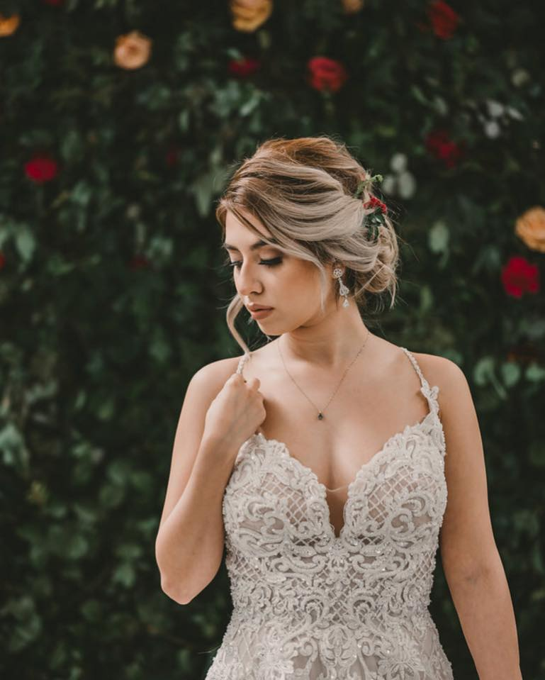 Bridal makeup and updo hairstyle