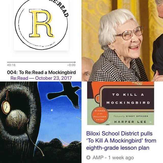"Now is more important than ever to reread #tokillamockingbird. A Mississippi school pulled Mockingbird from an 8th grade classroom because it ""made some people uncomfortable."" Mockingbird is an important book. It exists to make us uncomfortable in the ways that prompt us to investigate ourselves. Check out episode 004! Reread with us! #tokillamockingbird #podcast #books"