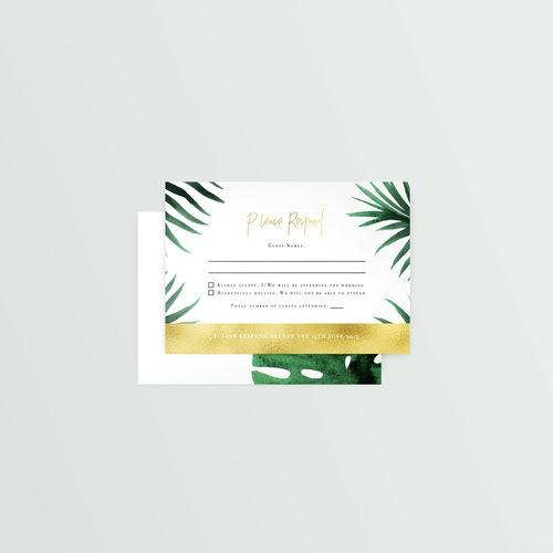 monstera mailable rsvp postcard honest invites