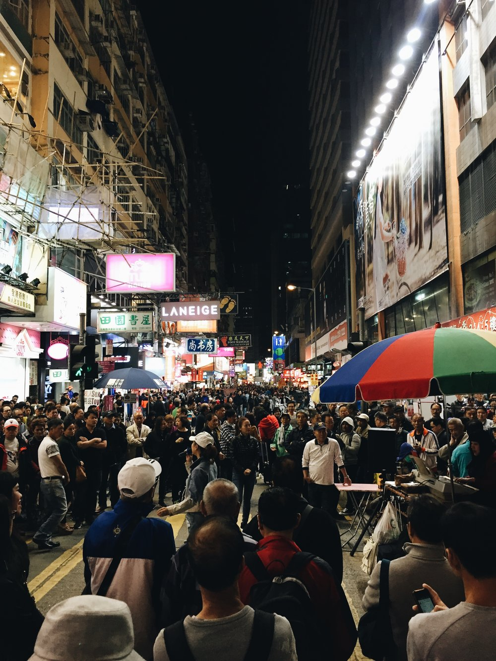Monk Kok is one of the most populated place in Hong Kong. It's pretty crazy actually.