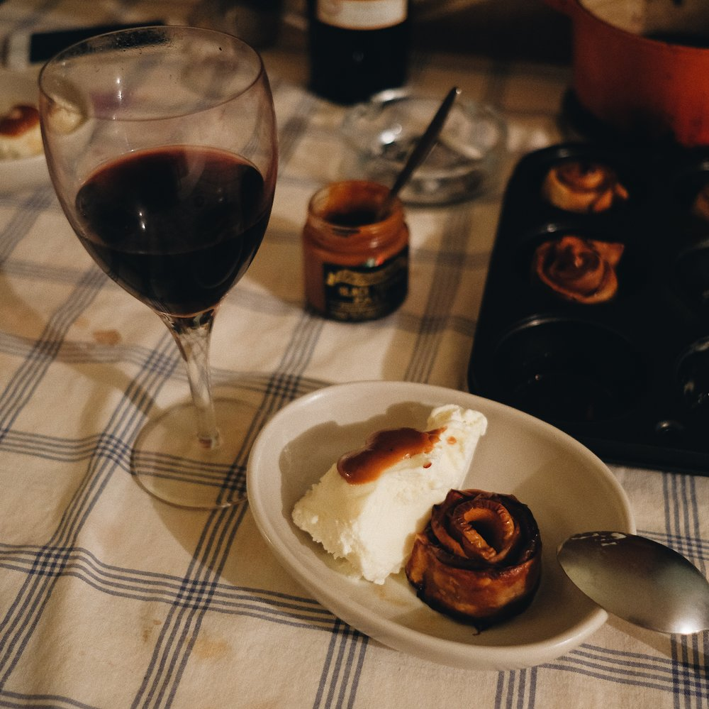 The baked apple and her homemade caramel sauce was AMAZING