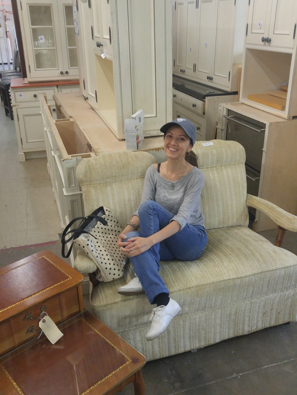 "I decided to work on both! The loveseat was donated by ""Murdoch Mysteries"". How cool is that?!"