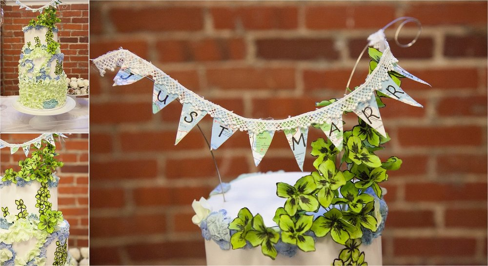 The Cake:  Hand-painted lime green and blue flowers decorated the 3-tier wedding cake, topped with a miniature banner made out of a world maps.