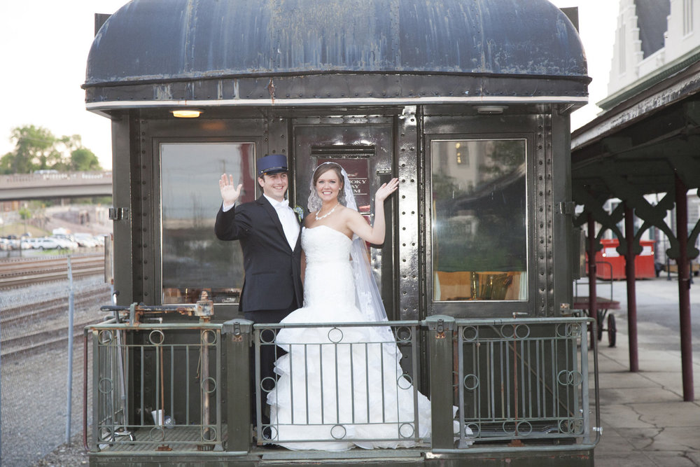 Bon Voyage! The couple waived to their guest with a train send off.