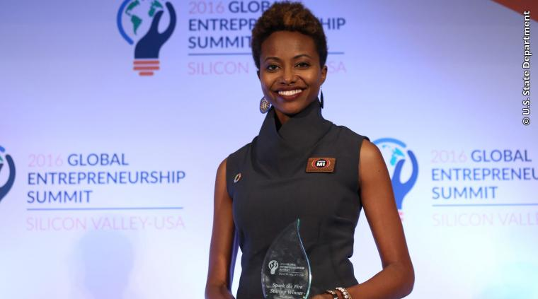 GES 2016 Spark the Fire GES+ Startup Pitch Competition Winner Kennia Mattis of Jamaica.
