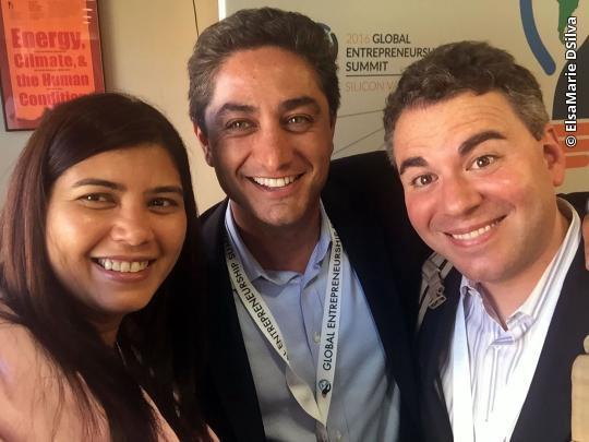 Elsa poses with her mentors and Safecity investors Antonio Gracias and Brad Sheftel. [Photo courtesy of Elsa D'Silva]
