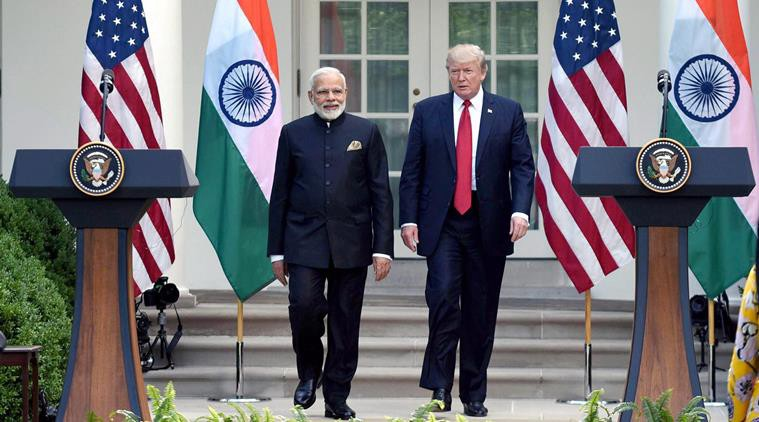 U.S. President Donald J. Trump and Indian Prime Minister Narendra Modi entering the White House Rose Garden for joint press availability on June 26, 2017. [Photo courtesy: Indian Express]