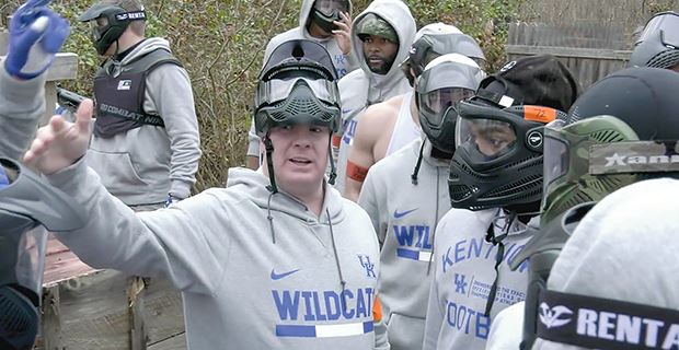 Kentucky Football at RU - Kentucky coach Mark Stoops is covered in welts after his players lit him up in an airsoft battle.