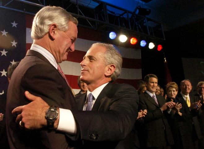 Jimmy Haslam is the tall, white-haired guy on the left. He is shaking hands with Bob Corker. Haslam runs Pilot Flying J and owns the Cleveland Browns. Corker is one of Tennessee's two U.S. Senators. Earlier this week, Corker said he will no longer seek another term in the Senate.