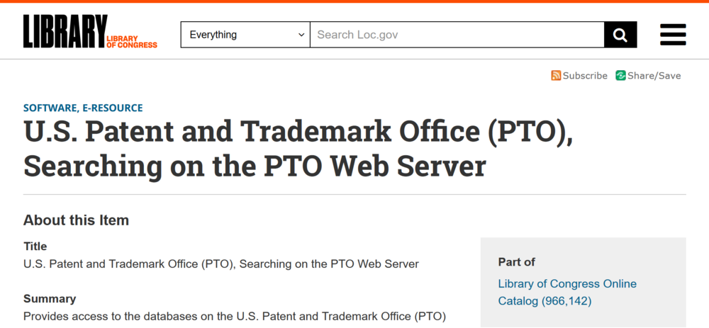 U S Patent and Trademark Office (PTO), Searching on the PTO Web Server.png