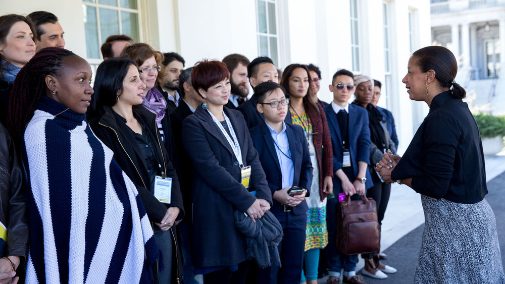 National Security Advisor Susan E. Rice greets young LGBT activists from nearly 30 countries outside of the West Wing Lobby of the White House, March 29, 2016. Their trip was sponsored by the Human Rights Campaign. (Official White House Photo by Amanda Lucidon)