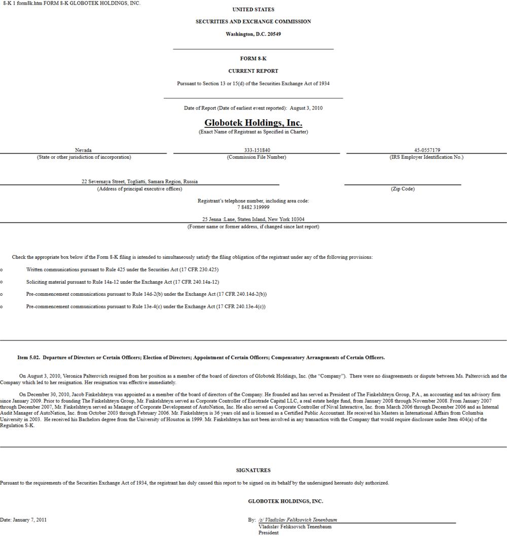 Finkel director of globotek SEC filing 2010.png
